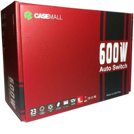 FONTE ATX  600W REAL CASEMALL  AUTO SWITCH (ALL-600TTPSW4)