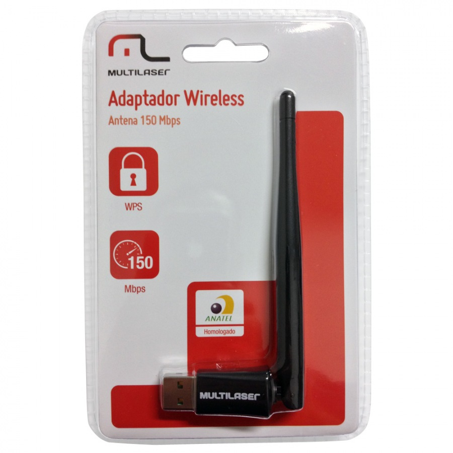 WIR. USB 150 MBPS (RE034) MULTILASER HIGH POWER C/ ANTENA 3DBI